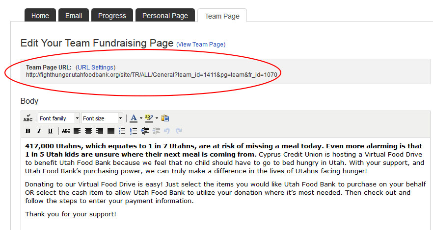 Team Fundraising Page URL